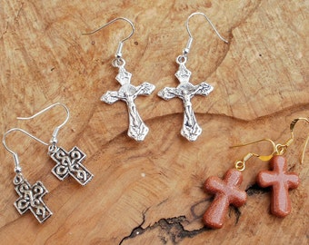 Special offer cross earring gift set, silver and goldstone