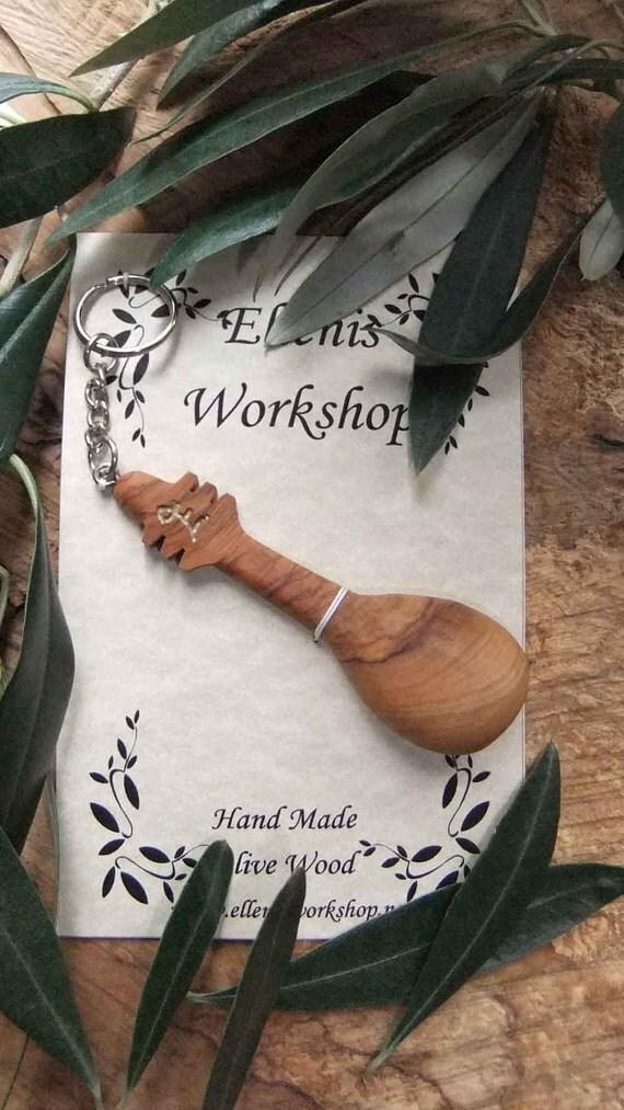 Greek Olive wood Bouzouki Key chain