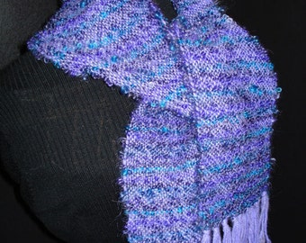 Purple Hand Woven Scarf in Alpaca and Loopy Mohair