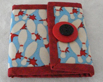Bowling Print Womens Wallet in Red, Blue and White