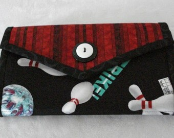 Bowling Print Womens Clutch Wallet in Black, Red and White