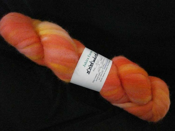 Alpaca Roving  - Hand Dyed in Orange Sherbet Colors