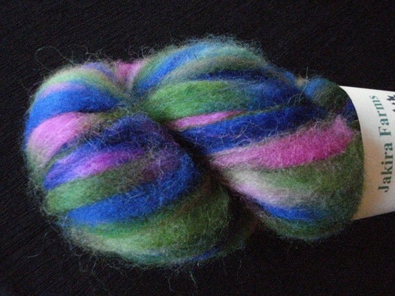 Alpaca Roving custom dyed in Green, Blue and Hot Pink