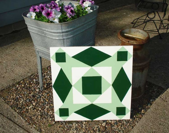 Barn Quilt 2 ft by 2 ft in Dark Green and Mint Green on White-MARKED DOWN