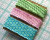 3.75 yards Hand Frayed Ribbon Cotton Fabric Green Pink Turquoise 3/4 to 1 inch wide