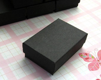10 High Quality Matte Black Cotton Filled Jewelry Boxes 2.5 x 1.75 x 15/16 inches - Small