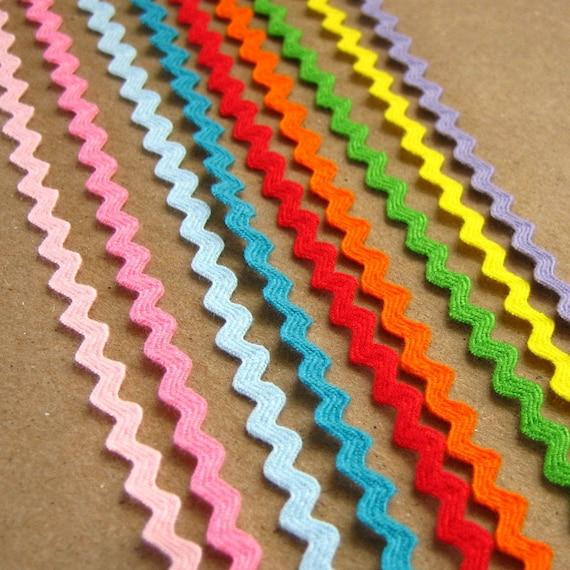 9 yards Mini Ric Rac Ribbon 1/8 inch - One yard each of 9 colors