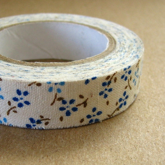 5 yards Fabric Tape Adhesive Blue Daisy Flower 5/8 inch