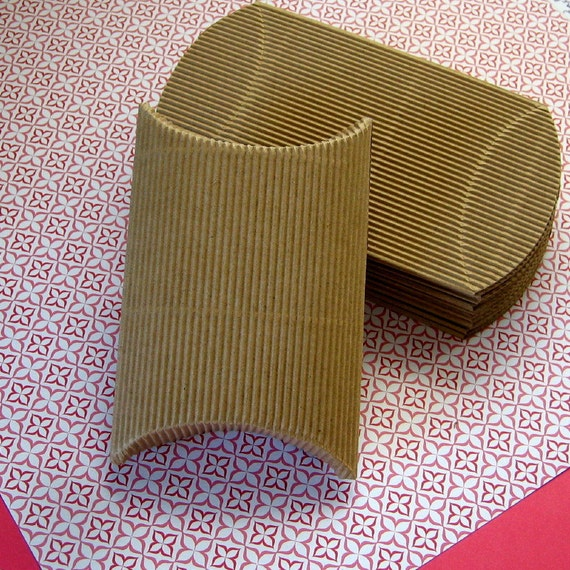 30 Corrugated Pillow Boxes Kraft 3 x 3 1/4 x 1 1/8 inches RESERVED