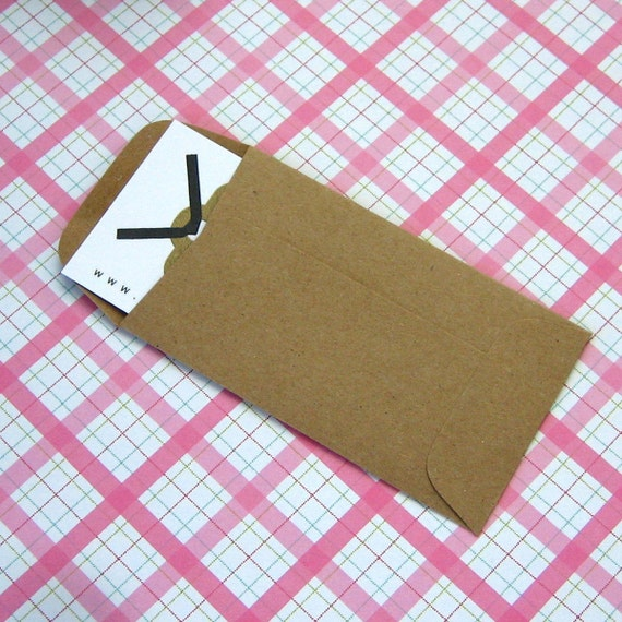 20 Mini Kraft Coin Envelopes 2.25 x 3.75 inches