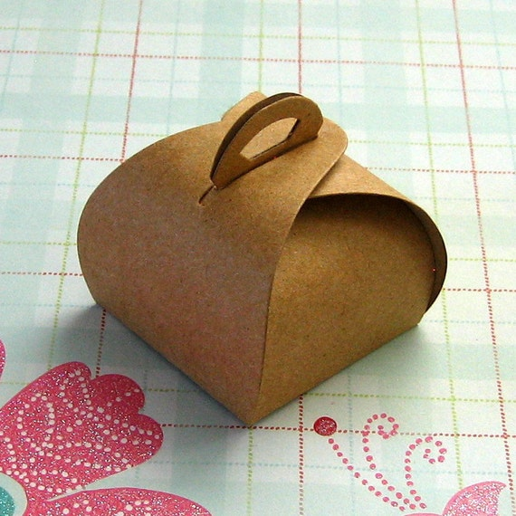 10 Mini Kraft Boxes Truffle Tote with Handle 1 1/2 x 1 1/2 x 1 1/4  inches