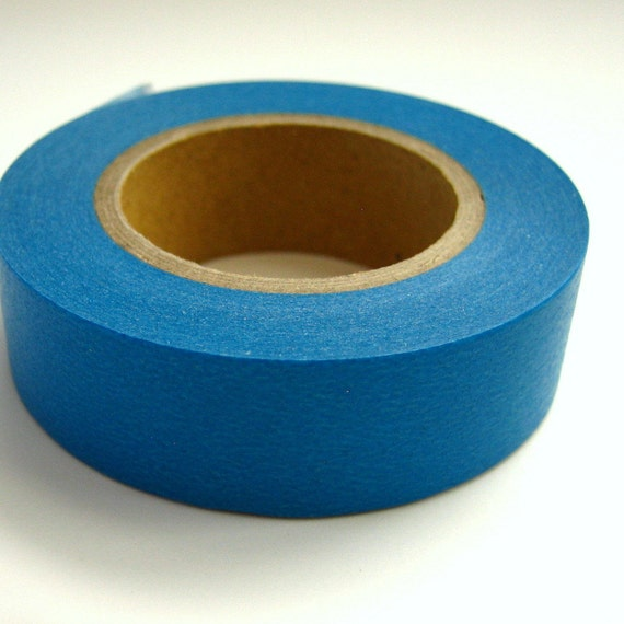 Japanese Washi Masking Tape Bright Blue Solid One Roll 16 yards