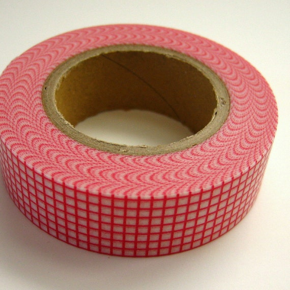 Japanese Washi Tape Red Grid One Roll 16 yards