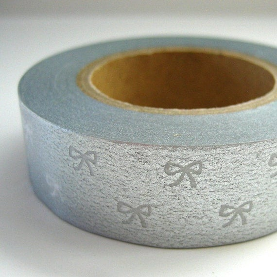 Silver Bows Washi Masking Tape Metallic One Roll 16 yards
