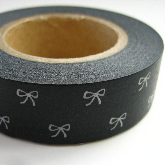 Washi Masking Tape Black with White Bows One Roll 16 yards
