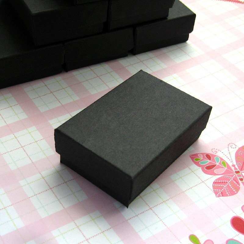 High quality matte black cotton filled jewelry boxes 2 5 x for Black box container studios