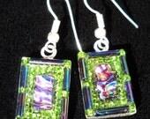 Wearable mosaic earrings in purlple and green