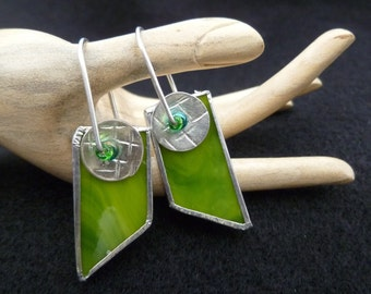 Green mod stained glass earrings