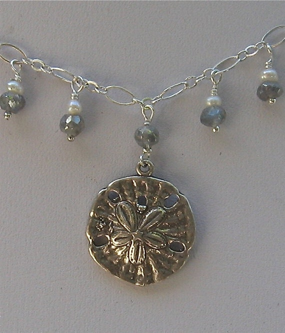SPRING SALE. Sand Dollar Necklace. Sea Shell Necklace. Silver Labradorite Necklace. Jewelry Under 40 - Gift Under 40