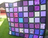 Purple and Black King Sized Quilt Top