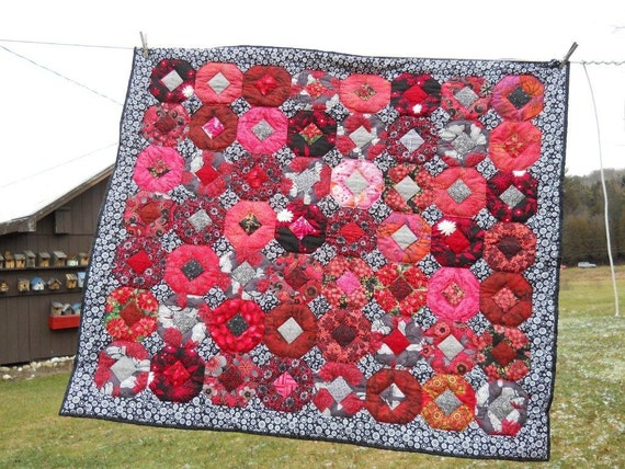 Black White and Red All Over Quilt..Clearance Priced