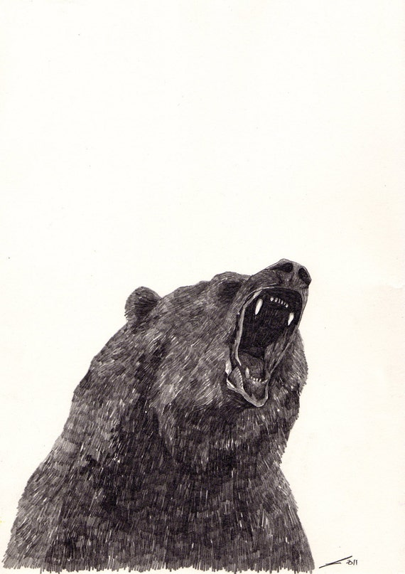 Items similar to Angry Bear - Original Drawing on Etsy
