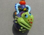 "Handmade lampwork glass vessel ""Frog"" by Flamejewels."