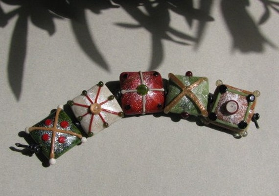 """Handmade lampwork glass beads """"Autumn squares""""  in green, brown, beige and grey by Flamejewels"""