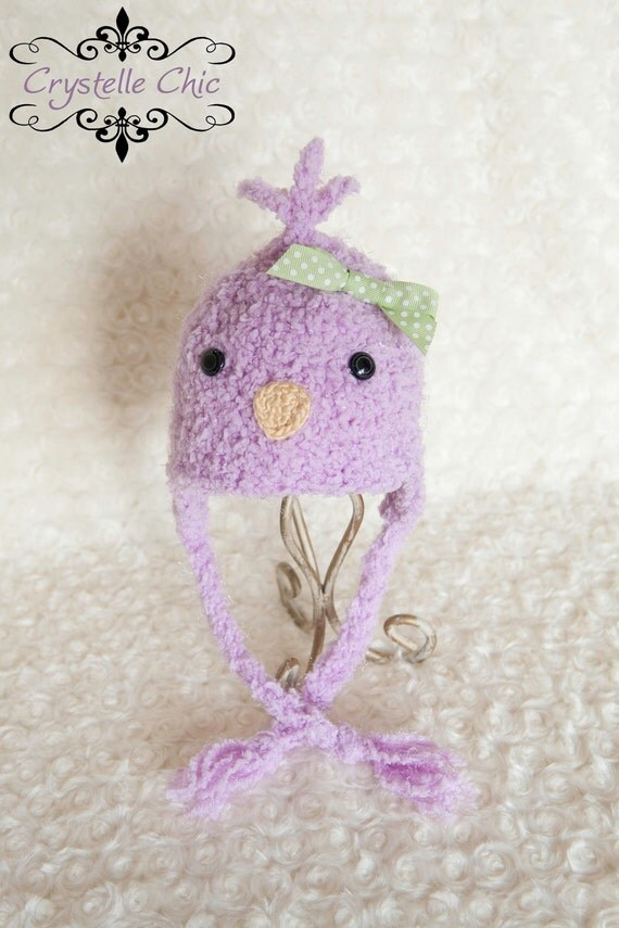 Lavender Chick Earflap Hat Spring Photo Prop - Newborn or 0 - 3 months