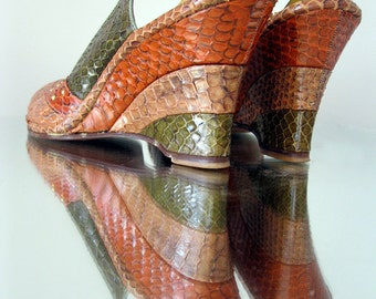 1940s Real SNAKESKIN WEDGIES  Peep Toe size 7 Narrow