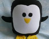 Plush Black Penguin Pillow Pal, Baby Safe, Machine Wash and Dry