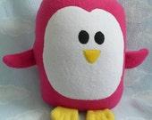 Plush Magenta Penguin Pillow Pal, Baby Safe, Machine Washable