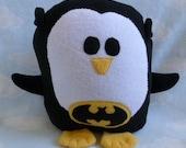 Plush Batman Penguin Pillow, Baby Safe, Machine Wash and Dry