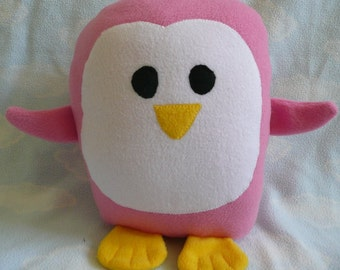 Plush Pink Penguin Pillow, Baby Safe, Machine Washable