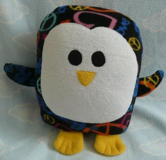 Plush Peace and Love Penguin Pillow Pal
