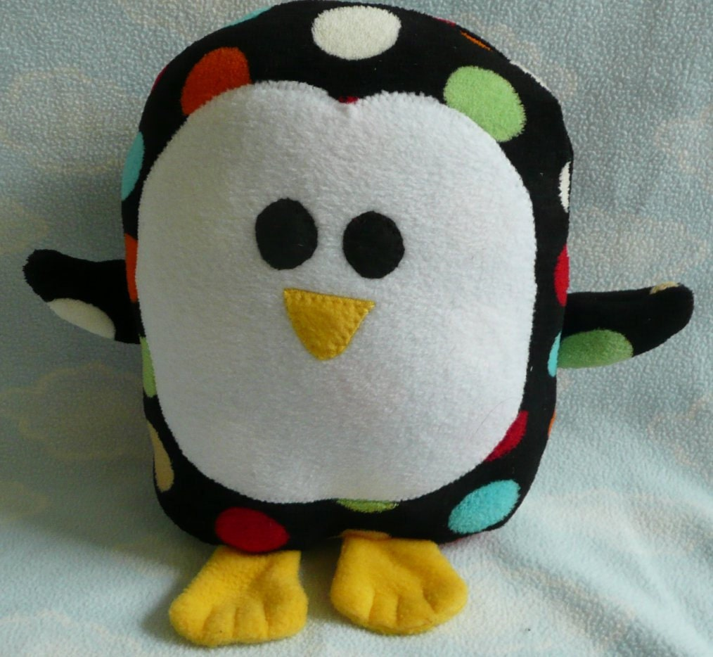 San Diego Chargers Fleece Fabric: Plush Polka Dot Penguin Pillow Pal LAST ONE