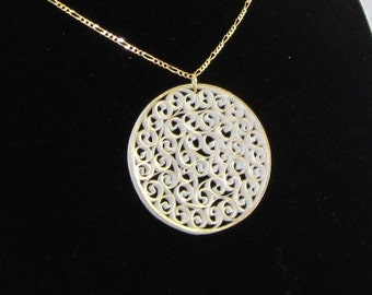 Quilled Necklace, Gold on White, Paper Filigree