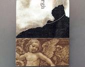 Cherub - angel wings, angel art, fridge magnet, original collage art, romantic art