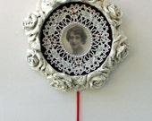 Halloween wreath - Fatal Beauty - Victorian gothic, femme fatale, white rose floral wreath, blood drop