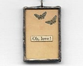FREE SHIPPING Valentine's Day, romantic jewelry - Oh Love, It's Ducky - collage pendant, necklace pendant, romantic art, soldered jewelry