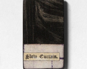 fridge magnet - Slow Curtain - haunting, scary, gothic, dark art, goth art, original collage art