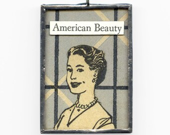 collage pendant - American Beauty, The Real McCoy - mid century modern jewelry, mad men art, jewelry pendant