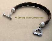 Wide Sorrel flat braid Horsehair Bracelet with Sterling Silver components.