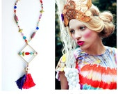 Adelita, Colorful Czech Quartz Brass Diamond Cloisonne Beaded Skull and Tassel Necklace - One of a Kind - FREE SHIPPING U.S.