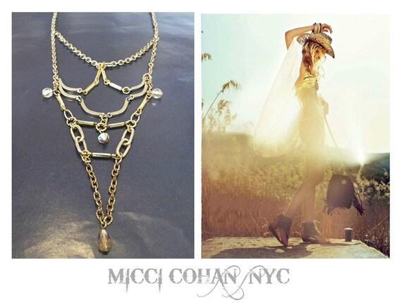 Art Noveau Arial Lotus Drape Link Necklace - One Of A Kind - FREE SHIPPING U.S.