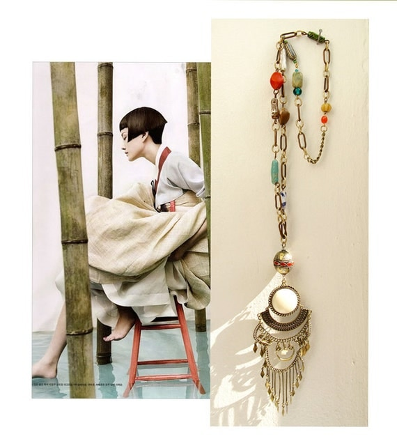 Charis, Ceramic Beaded Rustic Chain and Pendant Mediterranean Necklace - One of a Kind