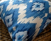 Pillow Cover - Ikat Blue - 18x18 inches - Pillow Sham - Ready to ship - Interior Designer - Throw Pillow Cover