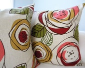Two Floral Pillow Covers - Throw Pillows - Peppercorn Elvis - Flowers Red Pink Gold Green Olive Brown