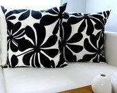Two Pillow Covers - Black and White Twirly Flowers - 18 x 18 inches - Pillow Shams - Throw Pillows