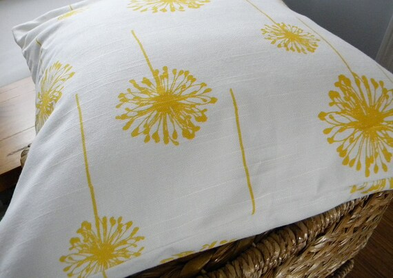 Two Pillow Covers - Yellow and White Dandelion Fabric Pillow Covers - Interior Design - Throw Pillow